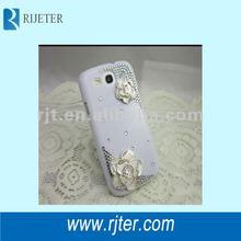 2012 transparent diamond camellia phone case for samsung galaxy i9300 case