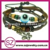 PUA0105 leather evil eye bracelet