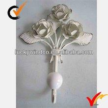 French vintage slight distressed cream flower single hook