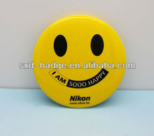 Customized Brand Smile face promotional tinplate badge