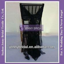 C006E cheap black organza ruffled wedding chair cover