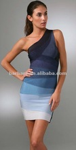 2012 hot selling paypal accept celebrity One-Shoulder Ombre blue bodycon prom Dress for wholesale,real photos!
