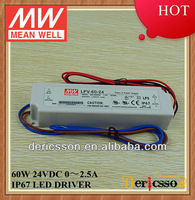 MEAN WELL 60W UL&CE&CB 90-264VAC Universal Input 24V 2.5A Constant Voltage IP 67 LED Driver LPV-60-24