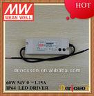 MEANWELL 60W UL/cUL CE CB 110V 220V 277VAC Input 54V Output Voltage Type IP64 LED Power Supply HLN-60H-54A