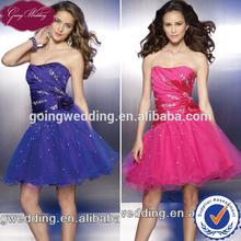 Goingwedding Hot Sale Scoop Neck Beading Patterns A-line Short/ Mini Taffeta Tulle Cocktail Dress CM019