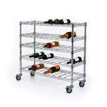 NSF Wire chrome floor standing metal rolling wine rack