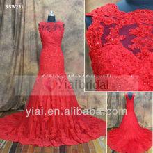 RSW231 Buying From China Red Illusion Neckline bridal Mermaid Alibaba Wedding Dress