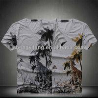 Hawaiian Animal printed 95%cotton 5%spandex t shirts / custom t-shirt with custom tag Men T12768