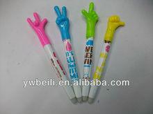 plastic cartoon erasable ball pen for school supply