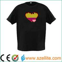 Hot !new arrival night party item sound activated Led Heart T shirt