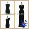 Elegantes andar de comprimento preto apertado Sexy vestido de gola redonda noite MY-12141