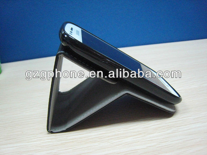 newest design flexible leather case for S3 mini/I 8190 with a stand