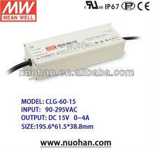 Meanwell 60W LED Power Supply ip67 15v LED Driver transformer