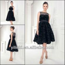 Dark Navy Bateau Neck Flowers Skirt Knee Length Tulle Model Dress Party