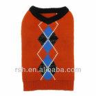 Fashion argyle V neck dog wear RSH1466