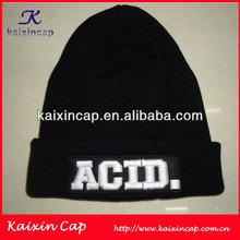 Custom Black Knit Hat/ Beanie/ Winter Hat Embroidered Logo 2014 Wholesale
