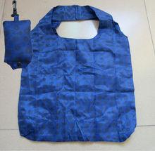 cheap nylon foldable shopping bag folded into a pouch bag