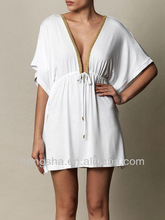 Latest New White Jersey Beach Dress Fashion Kaftan China HSM566