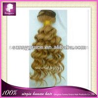 best seller tight curly golden yellow brazilian hair extension 100% virgin human hair weaving grade 5a hair weft for white women