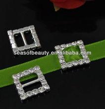 Rhinestone Crystal Buckle Slider Square Leather Belt