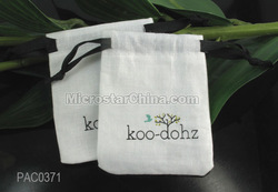 Customized logo Cotton Jewelry Drawstring Gift Bag