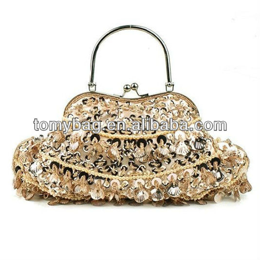 Latest shinny glitter evening indian beaded bags