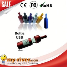 Custom logo myriver usb flash drive 2gb wine bottle shape usb memory stick