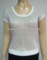 Ladies cuello redondo lurex básica del verano de la marca de la camisa