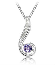 N2848 Diamond Necklace White Gold Plated Crystal Necklace For Lover