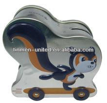 Squirrel money saving tin boxes with wheels