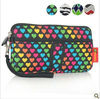 Zipper neoprene cosmetic bag pouch with pocket