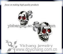 Broken Skull Forehead Stud Earrings with Ruby Red Eyes