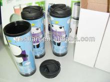 350ml double plastic hiking bottle Starbucks coffee mug with paper insert 12oz