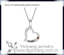 Stainless Steel Mother Heart Shaped Pendant July Ruby