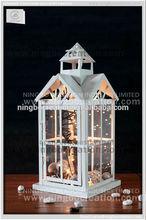 2015 best selling good quality Christmas wood hurricane lantern with string LED light