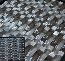 Wave marble and glass mosaic tile gray glass mosaic,3D glass mix stone mosaic,Hangzhou Kasaro Mosaic
