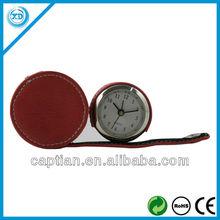 Mini CE&RoHS elegant PU leather travel clock