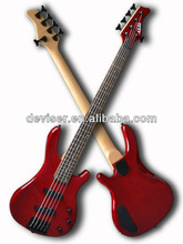 Cheap red 5 strings electric bass