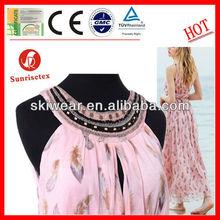 100% Polyester Hand Beaded Silk Chiffon Fabric for Women Dress
