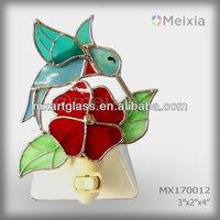 MX170012 tiffany style stained glass hummingbird night light