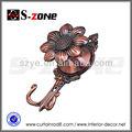 forma de flor chapeamento de ferro tieback cortina de gancho