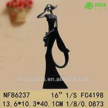 Sexy Women Black Dress Figurine Polyresin Statues