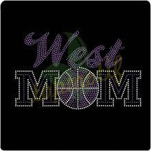 Elegant West Basketball Mom Transfer Rhinestone Hot Fix Motif Iron On Applique Transfer