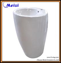 One piece pedestal ceramic bathroom sinks