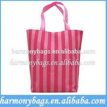 Pink Microfiber stripe printing fashion reusable shopping bag