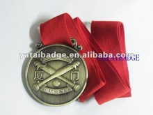 bronze color with red ribbon Sport medal baseball medal