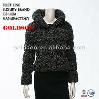 2014 Fashion colourful point circle woolen fabric slim Women short down jacket