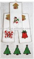 Christmas waffle cotton embroidery tea towel