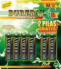 pvc or foil jacket card or shrink packing dry battery(R6 AA SIZE BATTERY)