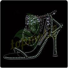 Elegant Shoes Hotfix Rhinestone Transfers Design, Rhinestone Applique For Clothes Decoration